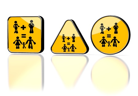 3d graphic with nice family plan symbol on three warning signs photo