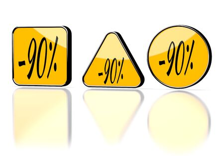 3d graphic with element discount symbol on three warning signs photo