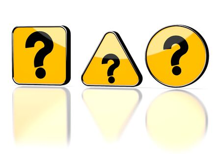 3d graphic with caution question symbol on three warning signs photo