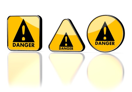 3d Graphic With Caution Danger Symbol On Three Warning Signs Stock
