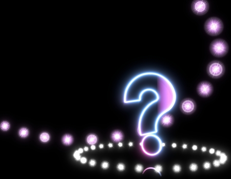 quiz: 3d graphic with shiny question icon on disco lights background Stock Photo