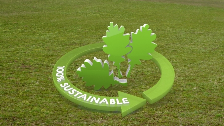 autumnn: 3d graphic with environmental oak leaves icon on grass