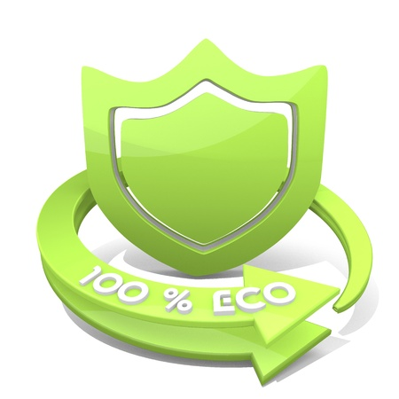 3d graphic with sustainable protection icon photo