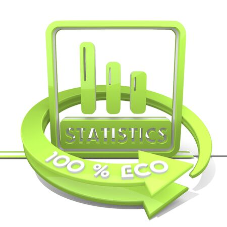 3d graphic with eco statistics sign photo