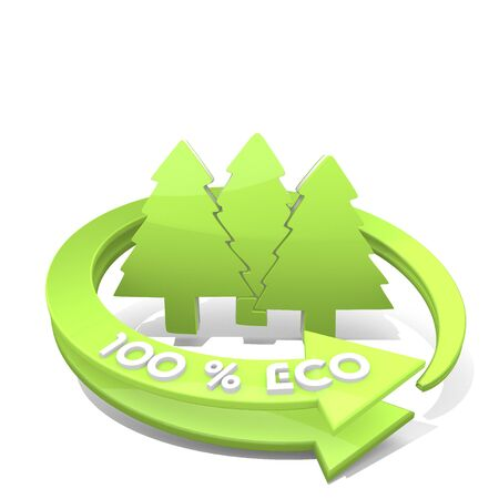 autumnn: 3d graphic with eco abstract group of trees sign Stock Photo