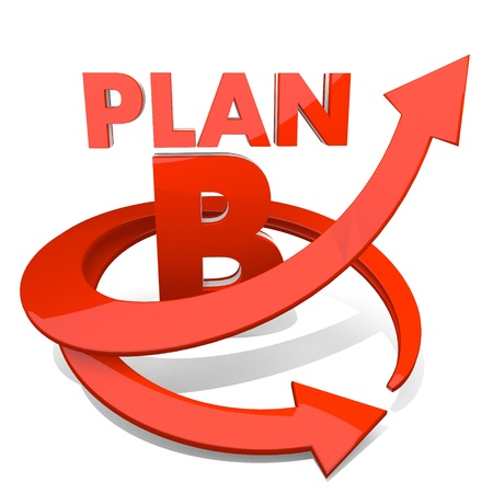 3d graphic with best plan b sign with arrow photo