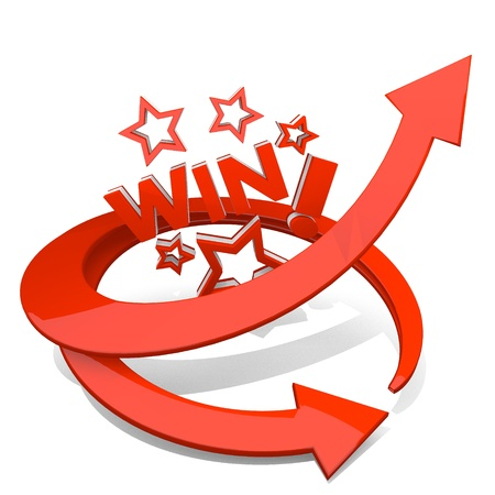 sucess: White  best improvement 3d graphic with best win symbol  with sucess arrow Stock Photo