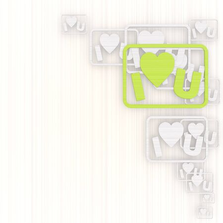 3d graphic with modern I love you background with pictogram photo