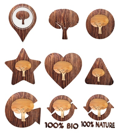 autumnn: 3d graphic with sustainable abstract tree icon set of wooden 3d buttons