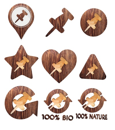 3d graphic with isolated pin symbol set of wooden 3d buttons photo
