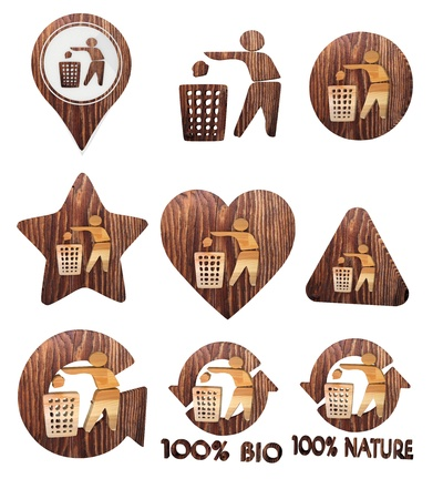 cast off: 3d graphic with isolated delete icon set of wooden 3d buttons