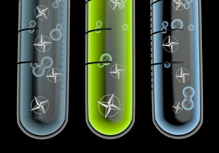 navigating: Black  isolated orientation 3d graphic with navigating compass symbol  in three test glasses Stock Photo