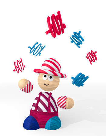3d graphic with -60 discount icon juggled by a clown photo