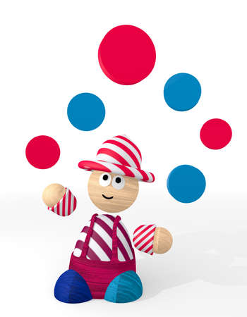 3d graphic with happy circle symbol juggled by a clown photo
