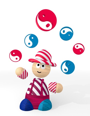 3d graphic with funny ying yang icon juggled by a clown Stock Photo - 21142187