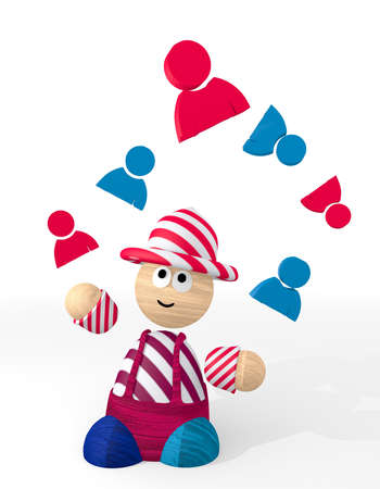 3d graphic with cute man icon juggled by a clown photo