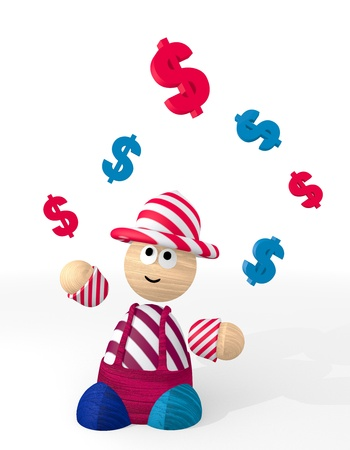 3d graphique avec une ic�ne mignonne Dollar jongl� par un clown photo
