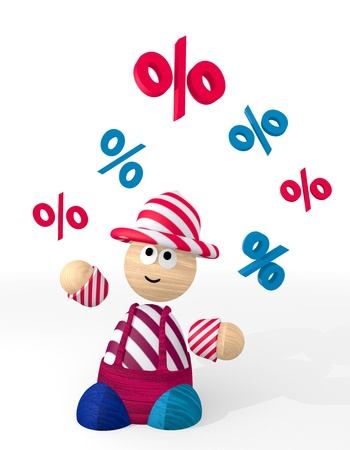 3d graphic with happy percent icon juggled by a clown photo