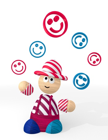 3d graphic with isolated smile icon juggled by a clown photo
