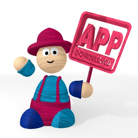 3d graphic with funny app download icon presented from a clown photo
