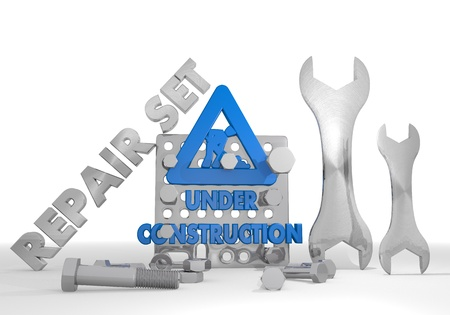 3d graphic with construction site under construction icon repair set photo