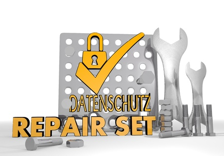 ciphering: 3d graphic with mechanical datenschutz(english data protection) symbol repair set Stock Photo