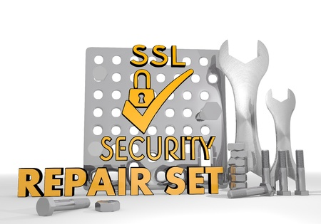 ciphering: 3d graphic with mechanical SSL symbol repair set