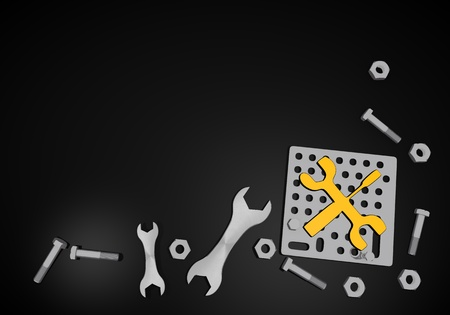 3d graphic with repairing mechanic sign on black background photo