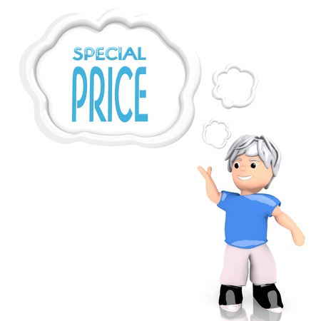 special character: creative boy 3d graphic with isolated special price sign  thought by a 3d character Stock Photo