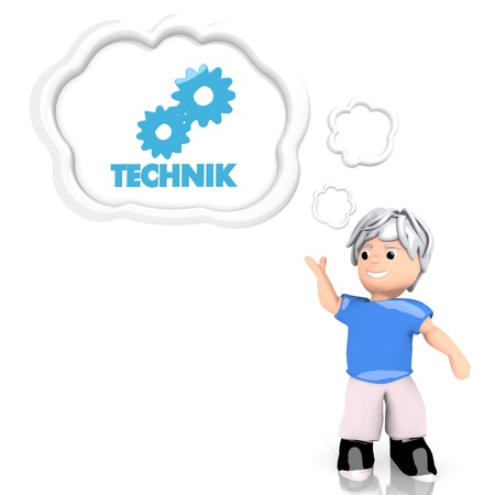 3d graphic with creative technik (english technical) symbol  thought by a 3d character photo