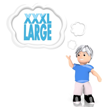 xxxl: 3d graphic with smart XXXL symbol  thought by a 3d character Stock Photo