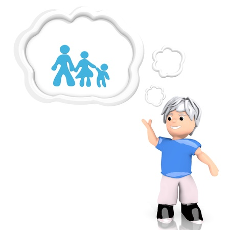 3d graphic with creative family icon  thought by a 3d character photo