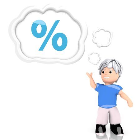 3d graphic with creative percent symbol  thought by a 3d character photo