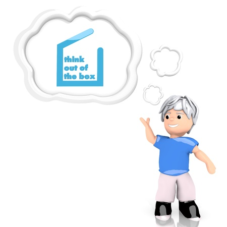 think out of the box: 3d graphic with new think out of the box icon  thought by a 3d character