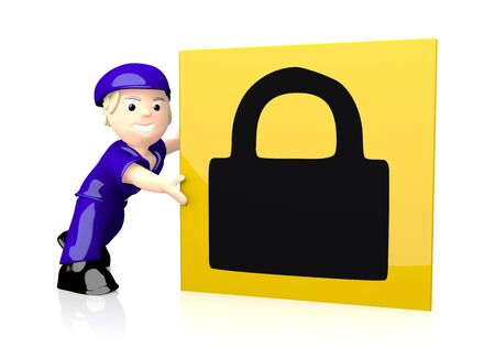 3d graphic with save secure icon  on yellow post box photo