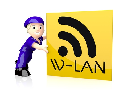 wlan: 3d graphic with cute w-lan icon  on yellow post box