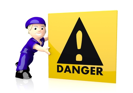 danger box: 3d graphic with nice Danger icon  on yellow post box