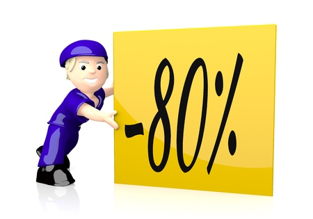 deduction: 3d graphic with -80 discount symbol  on yellow post box Stock Photo