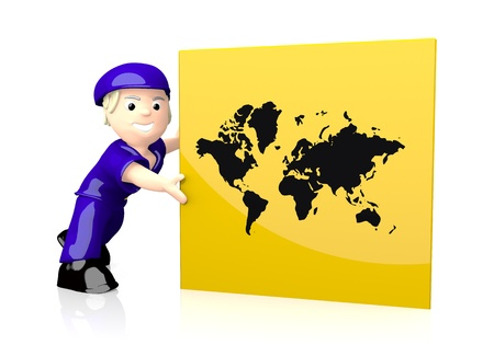 3d graphic with worldwide international icon  on yellow post box