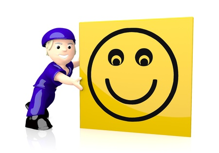 nice guy: 3d graphic with isolated smile symbol  on yellow post box