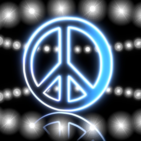 3d graphic with magic peace symbol  with shining effect lights photo