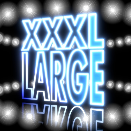 xxxl: 3d graphic with glowing XXXL icon  with shining effect lights Stock Photo