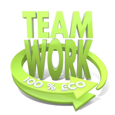3d graphic with together Teamwork symbol  and 100 percent eco photo