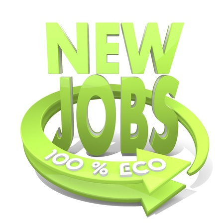 3d graphic with environmental new jobs symbol  and 100 percent eco