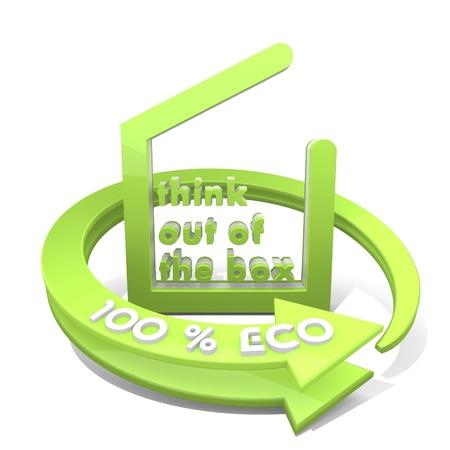 out think: 3d gr�fica con distintos think fuera del icono de la caja y 100 por ciento ecol�gica