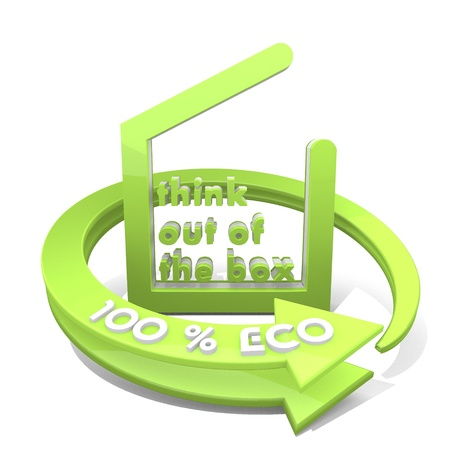 think out of the box: 3d graphic with different think out of the box icon  and 100 percent eco Stock Photo
