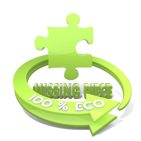missing piece: Gr�fico 3d con el signo de pieza faltante del medio ambiente y el 100 por ciento ecol�gica Foto de archivo