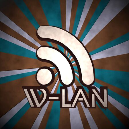 wlan: 3d graphic with dirty w-lan symbol  on retro background Stock Photo