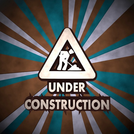 3d graphic with dirty under construction symbol  on retro background photo