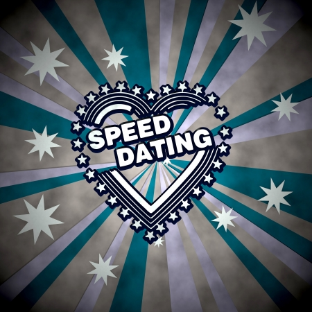speed dating: 3d graphic with striped speed dating symbol  on retro star background Stock Photo